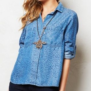 Anthropologie Leopard Chambray Shirt